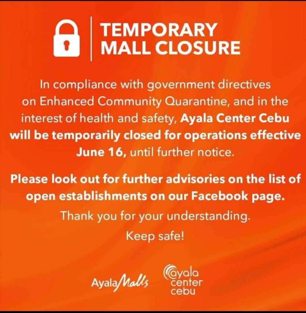 アヤラセンターセブは、セブ市が強化されたコミュニティ検疫(ECQ)に戻ったため、本日6月16日〜臨時休業を発表しました。 休業はECQの期間中続きます。 引き続き、スーパーマーケットや、薬局等はオープンしています。  参照元:Ayala Malls Facebook