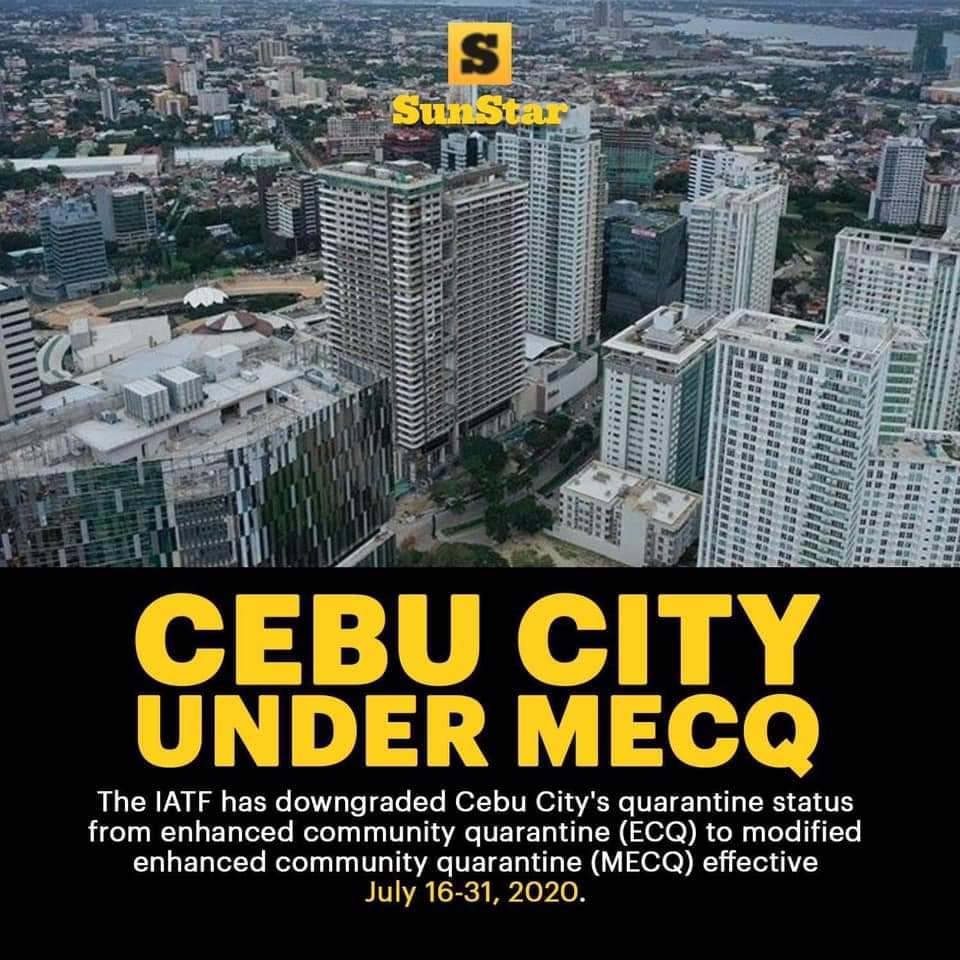 機関間タスクフォース(IATF)は、セブ市の検疫ステータスを2020年7月16日から31日までECQからMECQに格下げを行いました。 ロドリゴドゥテルテ大統領は、2020年7月15日水曜日の夜にIATF勧告を承認しました。   ソース:SunStar Cebu