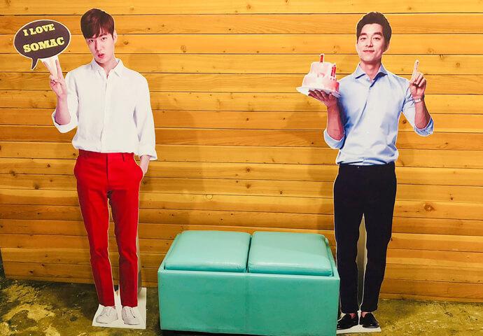 あら!こちらは何と韓流スターの「イ・ミンホ」と「コン・ユ」じゃないでしょうか。このイケメン二人(のパネル)と一緒に写真を撮れるスポットもあるなんて、一石二鳥!?