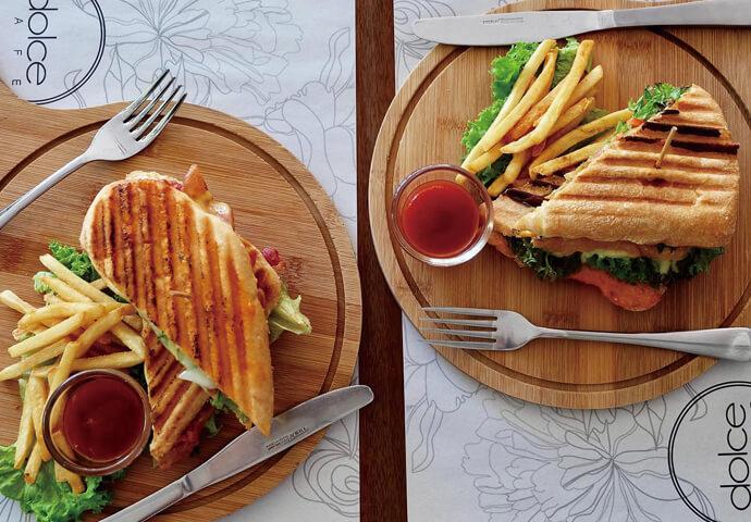 Bacon Sandwich (left) & Chicken Sandwich (right)