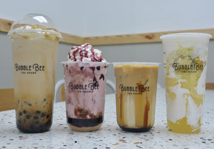Bubble Bee's Brulee, Blueberry Cheesecake , Bubble Bee KOPI, Calamansi Cloud